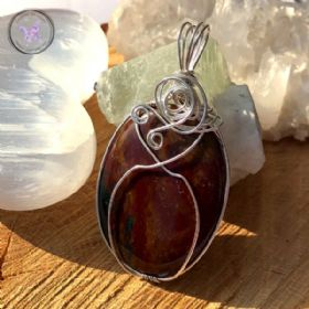 Bloodstone Sterling Silver Wire Wrapped Pendant